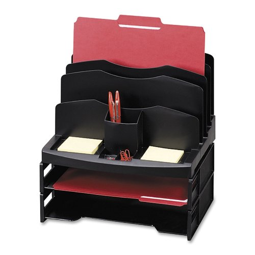 Sparco Organizer with 2 Letter Trays, 9 Composite, 13-1/8 x 9-7/8 x 14 Inches, Black by Sparco