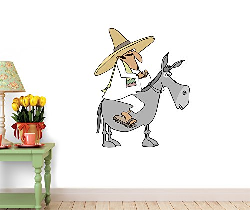 Wallmonkeys WM296994 Mexican Man Riding a Donkey Peel and Stick Wall Decals (60 in H x 48 in W)