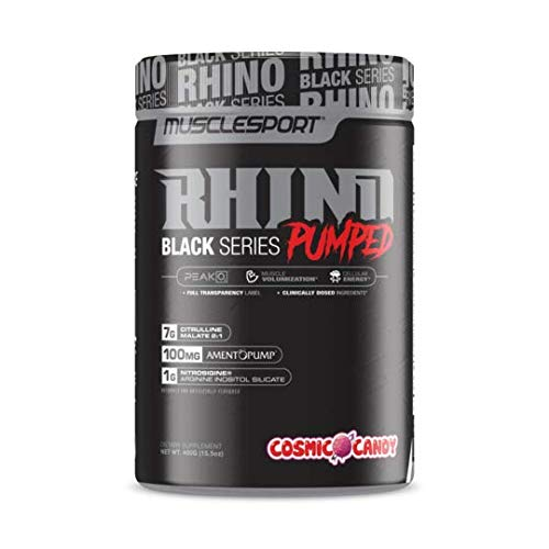Rhino Black® Pumped, Stimulant Free, Pre Workout Powder, Nitric Oxide Booster, Pumps, Lean Muscle Mass, Nitrosigine, Citrulline, Focus (400 Grams, Cosmic Candy)