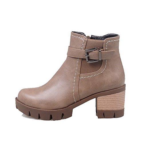 AgooLar Khaki Toe Kitten Solide Zipper Round Heels PU Damen Stiefel 7vqPSr7