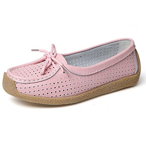 Z.SUO Damen Mokassins Leder Casual Loafers Flatschuhe Low-Top Schuhe Erbsenschuhe Fahren Halbschuhe Pink