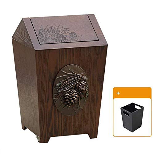 (MGEM Waste Bin,Home Living Room Creative American Resin Large with Shake Cover Trash Can Office Bedroom Kitchen Dining Room Paper Basket 10L (Size : 10L))