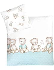 Julius Zöllner Pościel do łóżeczka dziecięcego 80 x 80 + 35 x 40 cm, 100% bawełna, Made in Germany, niedźwiedzia miętowa