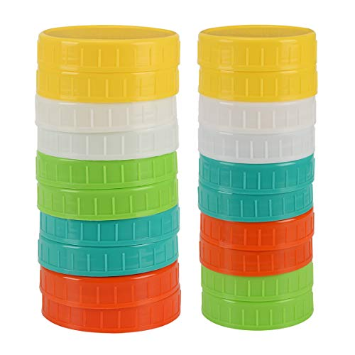 Mason Jar Plastic Lids for Regular Mouth and Wide Mouth for Storage Colored 20 Pack