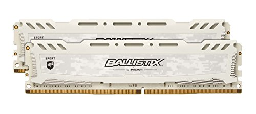 - Ballistix Sport LT 32GB Kit (16GBx2) DDR4 2400 MT/s (PC4-19200) CL16 DIMM 288-Pin BLS2K16G4D240FSC (White)