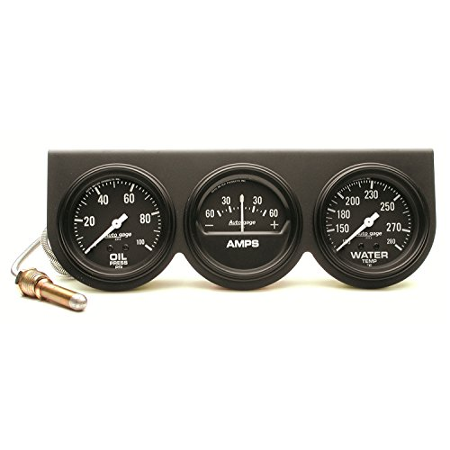Auto Meter 2394 Autogage Black Oil/Amp/Water Gauge with Steel ()