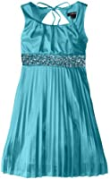 My Michelle Big Girls' Silky Pleated Dress with Pintuck Neckline