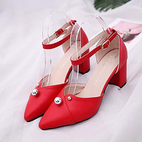 Mujer Hebilla Zapatos Rojo Red del Tobillo De Caída Blanco Chunky Talón QOIQNLSN PU Negro Poliuretano Tacones xnBxW