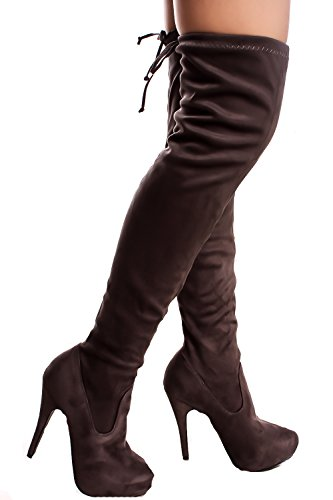 Lolli Couture Forever Link Faux Leather Lace UP Long Combat Style With Heel Knee High Long Boots Grey-compose-23 AM0cf2H