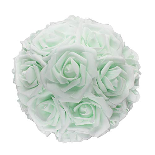 (AnParty 50pcs Artificial Flower,Real Touch Artificial Foam Roses Decoration DIY Wedding Bridesmaid Bridal Bouquet Centerpieces Party (50, Mint)