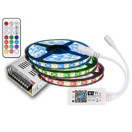 15m IP20 RGBW (RGB+Warmweiß) LED Streifen mit 900 LEDs (SMD 5050) +WLAN WiFi controll mit Amazon Alexa SMARTPHONE +12v 16A 200W Netzteil STROMVERSORGUNG für Haus & Garten outdoor Decorative