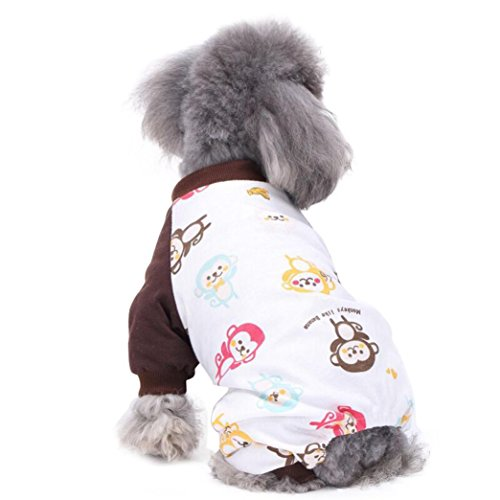 [Makalon Colorful Cute Pet Puppy Dog Cotton Pajamas Teddy Dog Soft Homewear Pajamas Jumpsuit (L,] (4xl Santa Costume Uk)