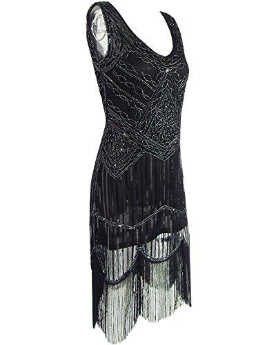 Babeyond Vestito Gatsby Donne 1920s Vestito Anni 20 Donna Flapper Dress 1920s Vestito da Sera Paillette Impreziosito Frange Gatsby Dress Senza Maniche Nero Magnifico