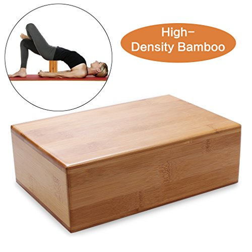 Bamboo Yoga Bricks- Natural, Eco-Friendly, Non-Toxic, Durable Rectangular Block Tool For Yoga Fitness Sport Training by edealing