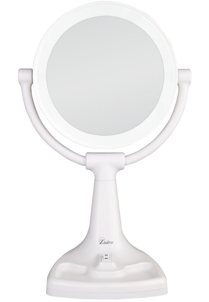 Zadro Max Bright Sunlight Dual Sided Vanity Mirror, White, 10X/1X Magnification