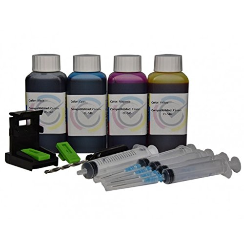 Kit para rellenar el cartucho Canon PG-545XL / CL-546XL negro y color + Refill Clip para impresoras PIXMA MG 2550 / MX 495 / MG 2950 / iP 2850 / MG 2450 Impresion Continua