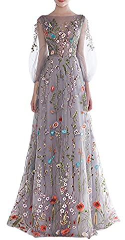 Ethel Women's Zipper Back Floral Embroidery Long Sleeves Evening Dresses, Grey, 4
