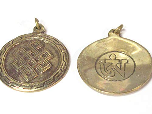 (1 Pendant - Tibetan Brass Infinity Knot Endless Knot Symbol with Reverse Side om Mantra Pendant from Nepal - CP139)