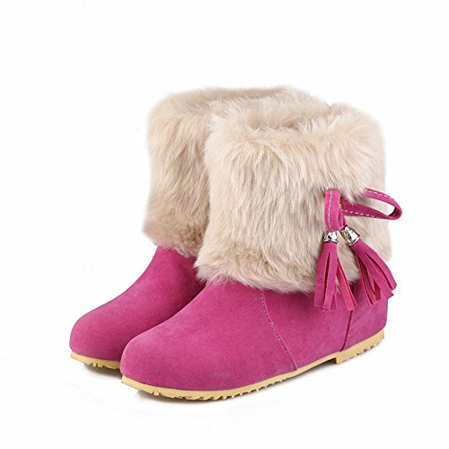 Show Shine Womens Sweet Bows Tallone Nascosto Nappe Snow Boots Rose Red