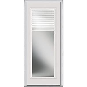 "National Door Company Z007824R Fiberglass Smooth Brilliant White, Right Hand In-Swing, Prehung Front Door, Full Lite, Clear Glass with RLB, 30"" x 80"""