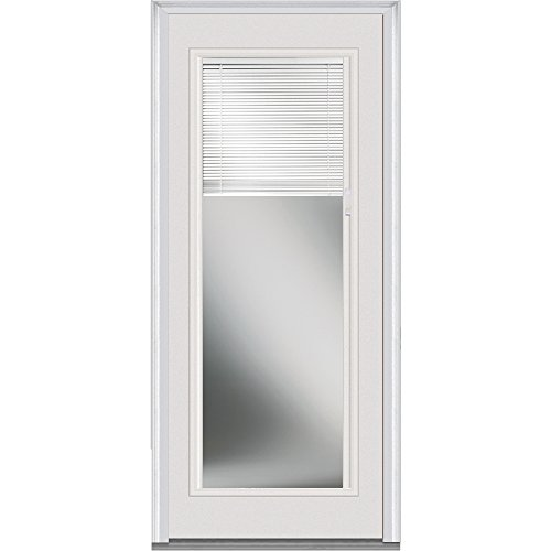 National Door Company Z007814R Fiberglass Smooth Brilliant White, Right Hand In-Swing, Prehung Front Door, Full Lite, Clear Glass with RLB, 36