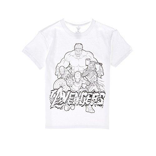 Marvel Comics T Shirt - Officially Licensed Marvel Avengers Shirts Soft Crewneck ft. Hulk-Ironman-Thor-Capt. America - White (Large)