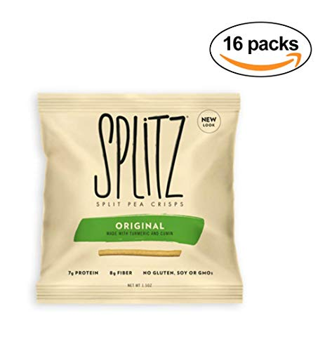 Splitz Original Crunchy Split Pea Crisp Snacks 1.5oz (16 Pack) Non-GMO Gluten-Free Snacks