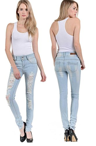 LIGHT BLUE WOMENS Denim Stretch JEANS Destroy Skinny LEG Ripped Distressed Pants - Light Denim
