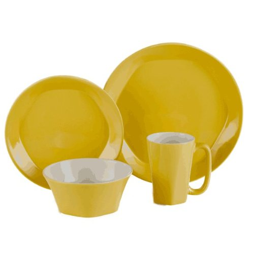 ColorUs China 112030 Glycon Hexagon in Round Stoneware 16-Piece Dinnerware Set, Sunflower, Service for 4