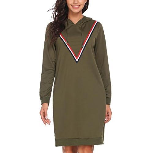 ACEVOG Women's Sweatshirt Long Sleeve Round Split Hem Hoodie Dress With Kangaroo Pockets for sale