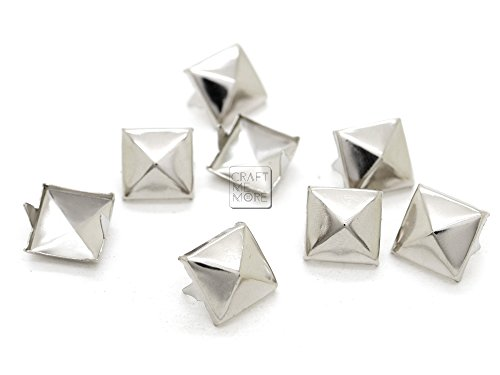 CRAFTMEmore 200pcs Avail All Sizes Pyramid Studs Spot Nailheads 2 Prongs Square DIY Spike for Shoes Cloth Punk Accessories (14 MM, Silver)
