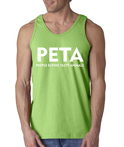 Tasty Animals Eating People (New Way 608 - Men's Tank-Top PETA People Eating Tasty Animals Parody Medium Lime)