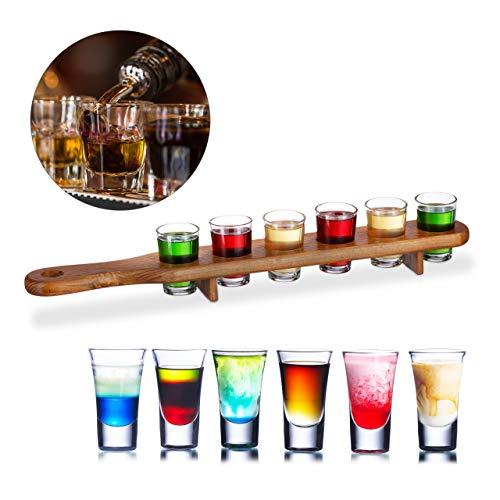 Relaxdays Schnapps Board, Wood, 6 Shot Glasses, 4 cl, Practical Shot Plate, Half Metre, Great Gift Idea, Shot Board, Brown (Schnapps Shot)
