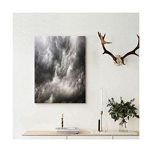 Liguo88 Custom canvas Grey Decor Weather Stormy Gloomy Air C