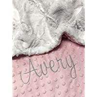 Personalized Baby Blanket, White Lattice and Baby Pink Minky Baby Blanket,Newborn Girl or Newborn Boy, Baby Blanket, Baby Shower Gift, Small to Large Double Minky Blanket Customized