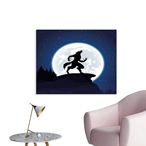 Wolf Boys Wall Sticker Full Moon Night Sky Growling Werewolf Mythical Creature in Woods Halloween Custom Poster W36 -