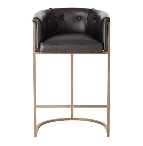 Kathy Kuo Home Calvin Top Grain Black Leather Art Deco Bar Stool (Art Deco Leather)