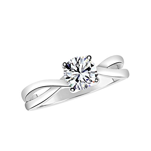 Solstice Sterling Silver 925 6mm Round Solitaire Ring Made with Swarovski Zirconia (0.90 cttw, Size 7) by Solstice
