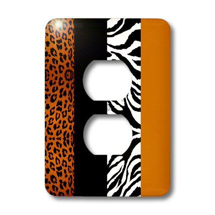 3dRose LLC lsp_35442_6 Orange Black and White Animal Print with Leopard and Zebra - 2 Plug Outlet Cover