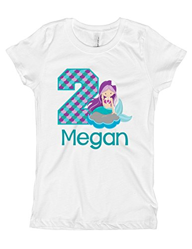 Girls Mermaid Birthday Shirt Any Age | Personalized with Any Name (White, 2T)