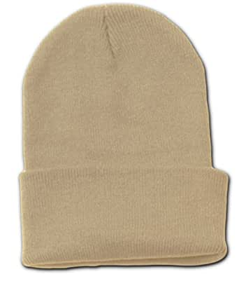 Blank Long Cuff Beanie Cap, Khaki