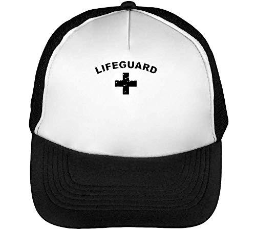 Hombre Negro Cross Gorras Beisbol Lifeguard Snapback Blanco wqvETSx