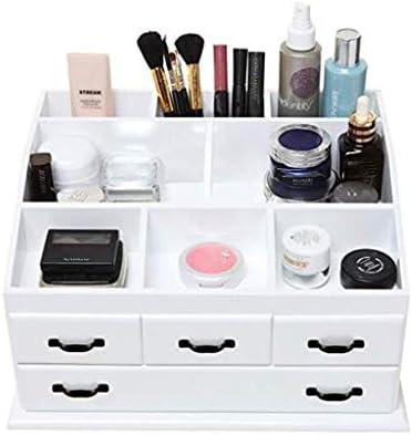 HAPzfsp 化粧品収納ボックス 木製4引き出しジュエリー化粧品化粧収納ディスプレイテーブルオーガナイザーボックスホワイト 化粧品オーガナイザー、更衣室、化粧台