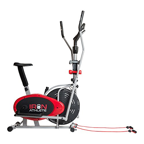 Elliptical 4-in-1 Cross Trainer Exercise Bike, Home Gym Equipment, Compact Design, Pulse Sensors, Hand Weights, Resistance Bands + BONUS Sports Water Bottle - ON SALE! by Superior FITNESS
