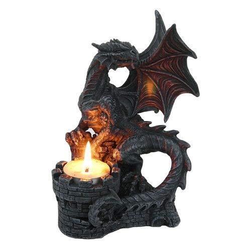 (Figurine Ancient Dragon Protecting Castle Fort Tea Light Candle Holder Gargoyle)
