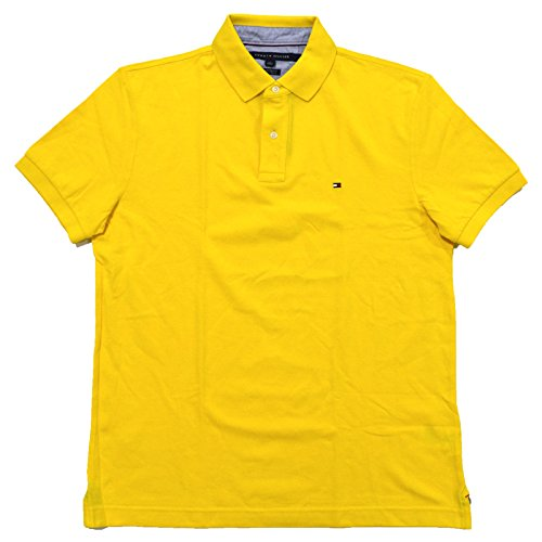 Tommy Hilfiger Mens Custom Fit Mesh Polo Shirt (Large, Taxi Yellow)