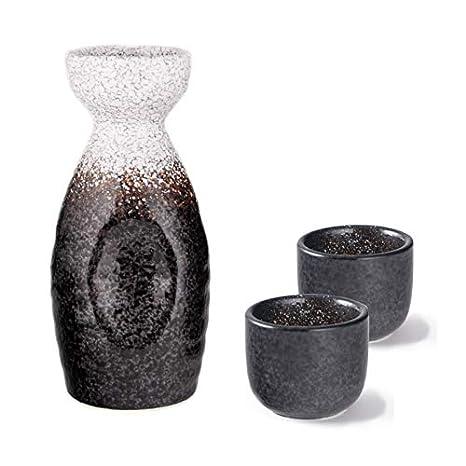 Hinomaru Collection Ichigo Sake Set Tokkuri 5 fl oz Bottle with Two Sake Ochoko Cups 2 fl oz Reactive Glaze Ceramic Brown