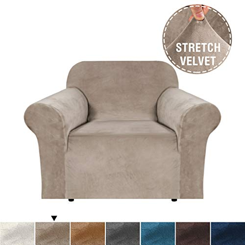 H.VERSAILTEX Sofa Cover Skid Resistance Velvet Plush Sofa Slipcover Stay in Place Super Rich Furniture Cover for Living, Fitted Sofa Protector High Stretch Plush Sofa Slipcovers-Taupe, Chair (Best Place For Sofas)