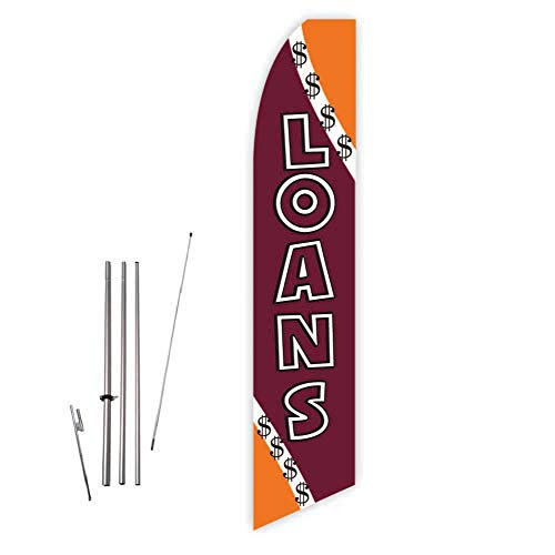 Loans (Brown) Super Novo Feather Flag - Complete with 15ft Pole Set and Ground Spike