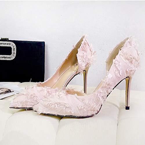 single Black side fashion shoe head 9cm heel joker joker empty LBTSQ Pointed thin fluffy OFnqYwUpv